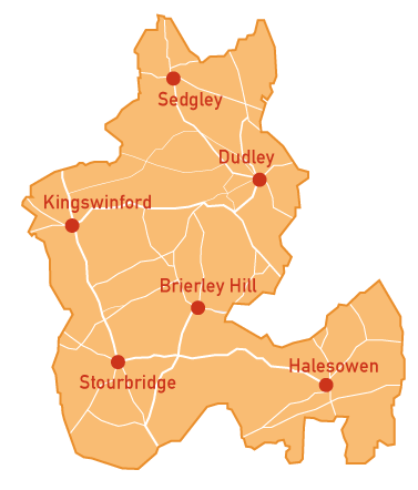 Map of Dudley Borough